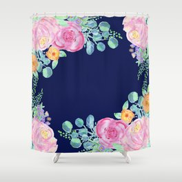 light pink peonies with navy background Shower Curtain