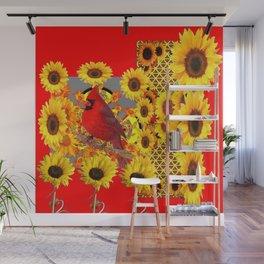 RED CARDINAL BIRD YELLOW SUNFLOWERS  ABSTRACT Wall Mural