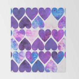 Mod Purple & Blue Grungy Hearts Design Throw Blanket