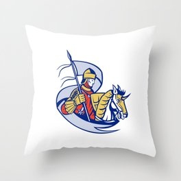 Knight With Flag Shield Horse Retro Throw Pillow