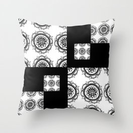 Black and White Rounded Mandala Patch Textile Throw Pillow