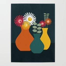 Flower Vases on Dark Background Poster