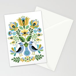 Hungarian Folk Art Birds Blue and Gold Stationery Cards