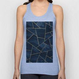 Dark Midnight Navy Blue Gold Geometric Glam #1 #geo #decor #art Unisex Tank Top