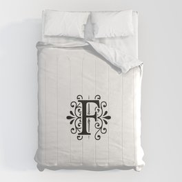 Monogram Letter F in Black and White Comforters