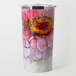 Botanical Flower Pink Zinnias in Pitcher Travel Mug
