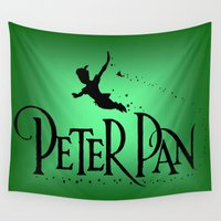 peter pan Wall Tapestries featuring Peter Pan  by MandiMccl