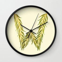Leafy Letter W Wall Clock