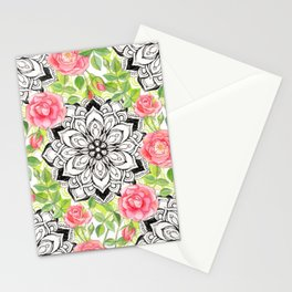 Peach Pink Roses and Mandalas on Lime Green and White Stationery Cards