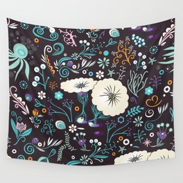 Subsea floral pattern Wall Tapestry