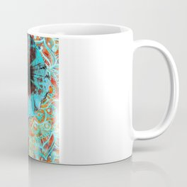 Indian Sketch Elephant Blue Orange Coffee Mug