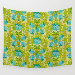 Turquoise and Green Leaves 1960s Retro Vintage Pattern Wall Tapestry