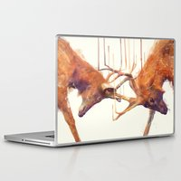 strong Laptop & iPad Skins featuring Stags // Strong by Amy Hamilton