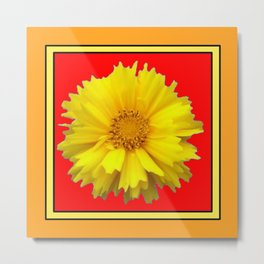 DECORATIVE RED COREOPSIS MODERN ART Metal Print