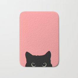 Sneaky black cat Bath Mat