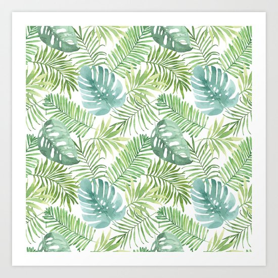 Tropical Branches Pattern 06 Art Print