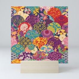 Japanese Wave Seigaiha Seamless Patterns Symbols Mini Art Print