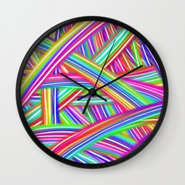 Abstract Neon Rainbow Wall Clock