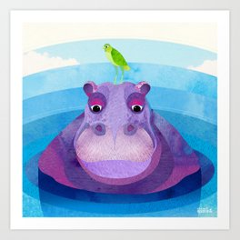 Shanti Sparrow: Betty & Ralph the Hippo and Bird Art Print