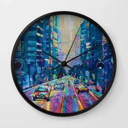 Streets of San Francisco - modern urban city landscape at sunrise by Adriana Dziuba Wall Clock