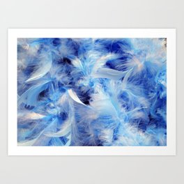 Blue Fluffy Downy Feathers Art Print