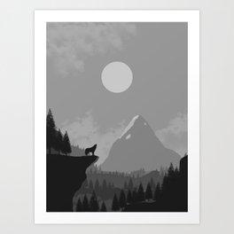 2D Wolf Amongst Mountain Ranges and Sunset - B&W Art Print
