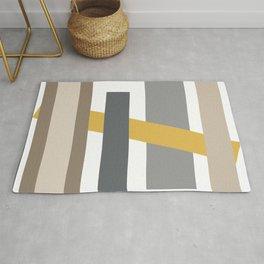 Taupe Geometric Abstract Rug