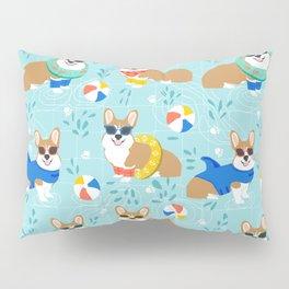 Corgi dog pool party summer beach ball design Pillow Sham