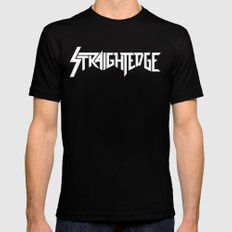 Straight Edge Metal Logo MEDIUM Black Mens Fitted Tee