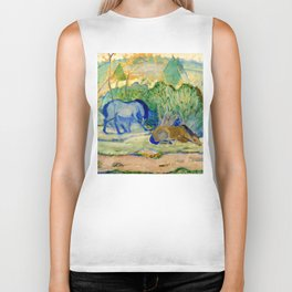 "Franz Marc ""Horses at Pasture (also known as Horses in a Landscape)"" Biker Tank"