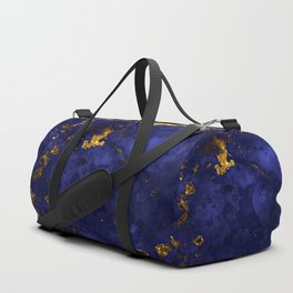 Gold Blue Indigo Malachite Marble Duffle Bag