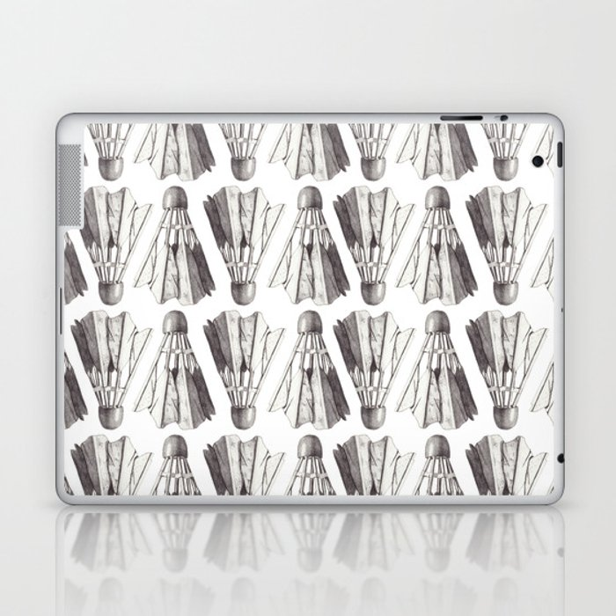 Badminton Shuttlecocks Pencil Drawing Laptop & iPad Skin by thepostmansknock