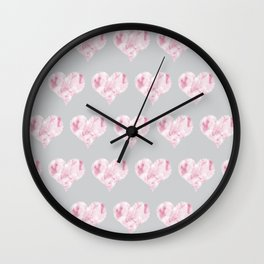 Pink Marble Heart Pattern on Grey Wall Clock
