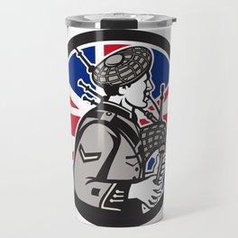 British Bagpiper Union Jack Flag Icon Travel Mug