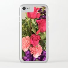 Flowers on natural wood. Clear iPhone Case