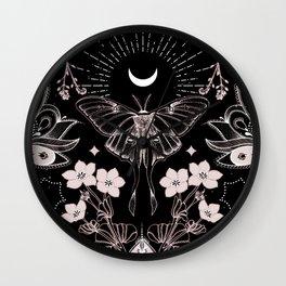Bohemian Luna Moth On Black Wall Clock