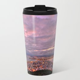 Aerial view of a magnificent city and her surroundings at twilight Travel Mug