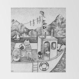 Fox on Fishing-boat Throw Blanket