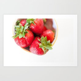 Large ripe whole strawberries in a bowl Art Print
