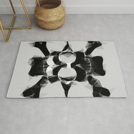 psychedelic skull art geometric triangle pattern abstract in black and white Rug