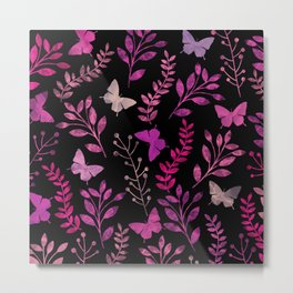 Watercolor flowers & butterflies III Metal Print