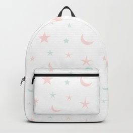 Pink and blue moon and star pattern Backpack