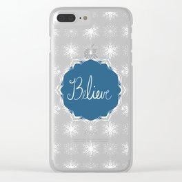 Winter Snow Believe Clear iPhone Case
