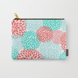 Coral Teal Dahlia Bouquet Carry-All Pouch