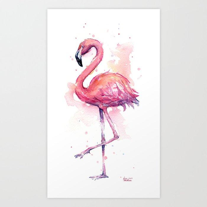 Pink Flamingo Watercolor Tropical Bird Art Print