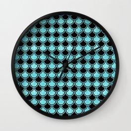 Mermaid Scales Blue Turquoise Teal on Black Wall Clock