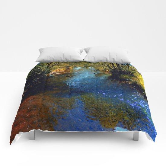 Vibrant river in autumn season Comforters