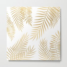 Gold palm leaves Metal Print