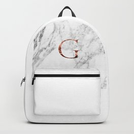 Monogram rose gold marble G Backpack