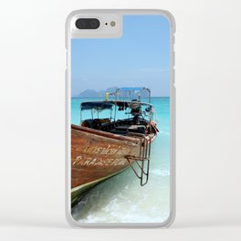 Thailand Tropical Beach with Fishing Boat Clear iPhone Case